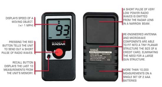 Pocket Radar PR1000 Traffic Speed Radar Gun used to measure vehicle speeds