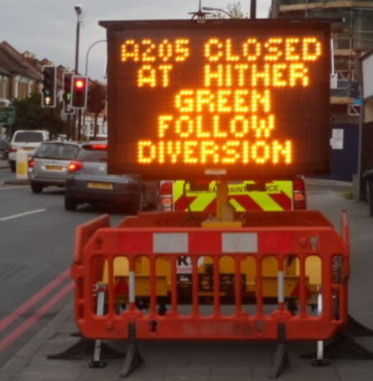 Mobile VMS Variable Message Sign on hire to TfL Transport for London Traffic Management.