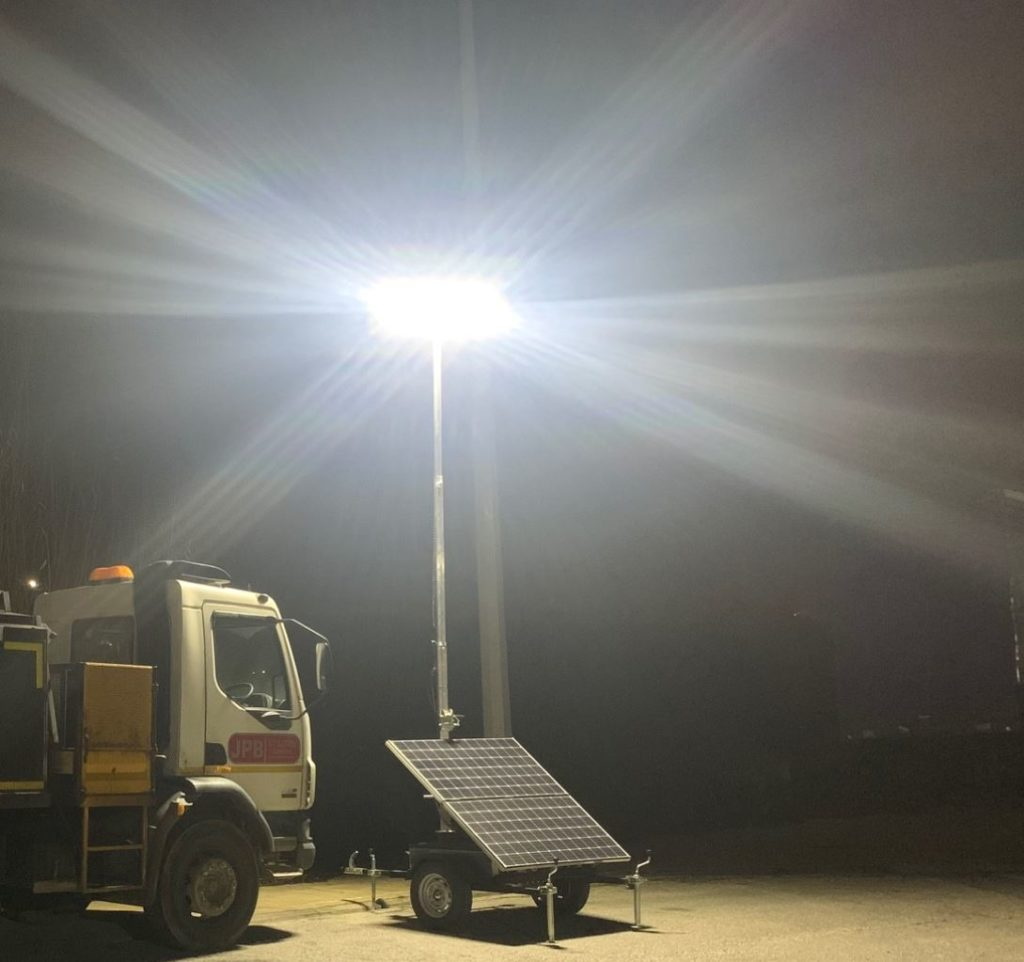 Solar Temporary Lighting Tower on Hire - Traffic Management