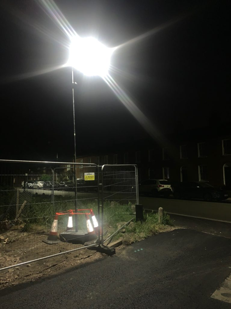 SSL Solar LED Street Light on Temporary hire - UK Construction site