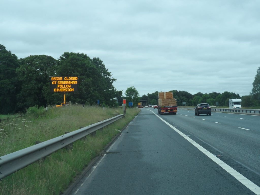Mobile VMS used on the M6 Motorway for traffic management