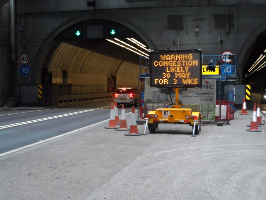 Mobile VMS on hire for tunnel maintenance